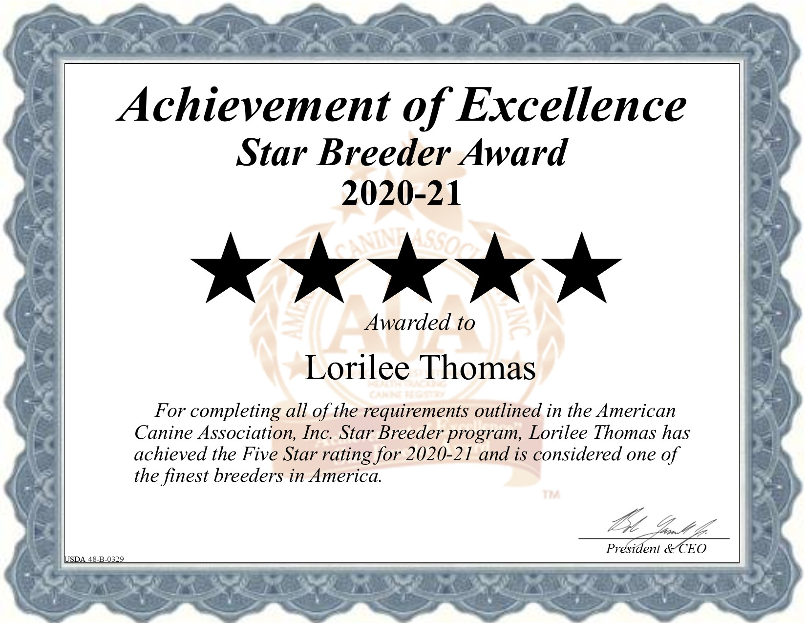 Lorilee thomas breeder, lorilee, thomas, dog, breeder, certificate, star-breeder, 5-star, USDA, lorilee-thomas, kansas, ks, whiting, puppy, puppies, ACA, USDA, 48-B-0329, report, inspection, requirement, customer, reviews,